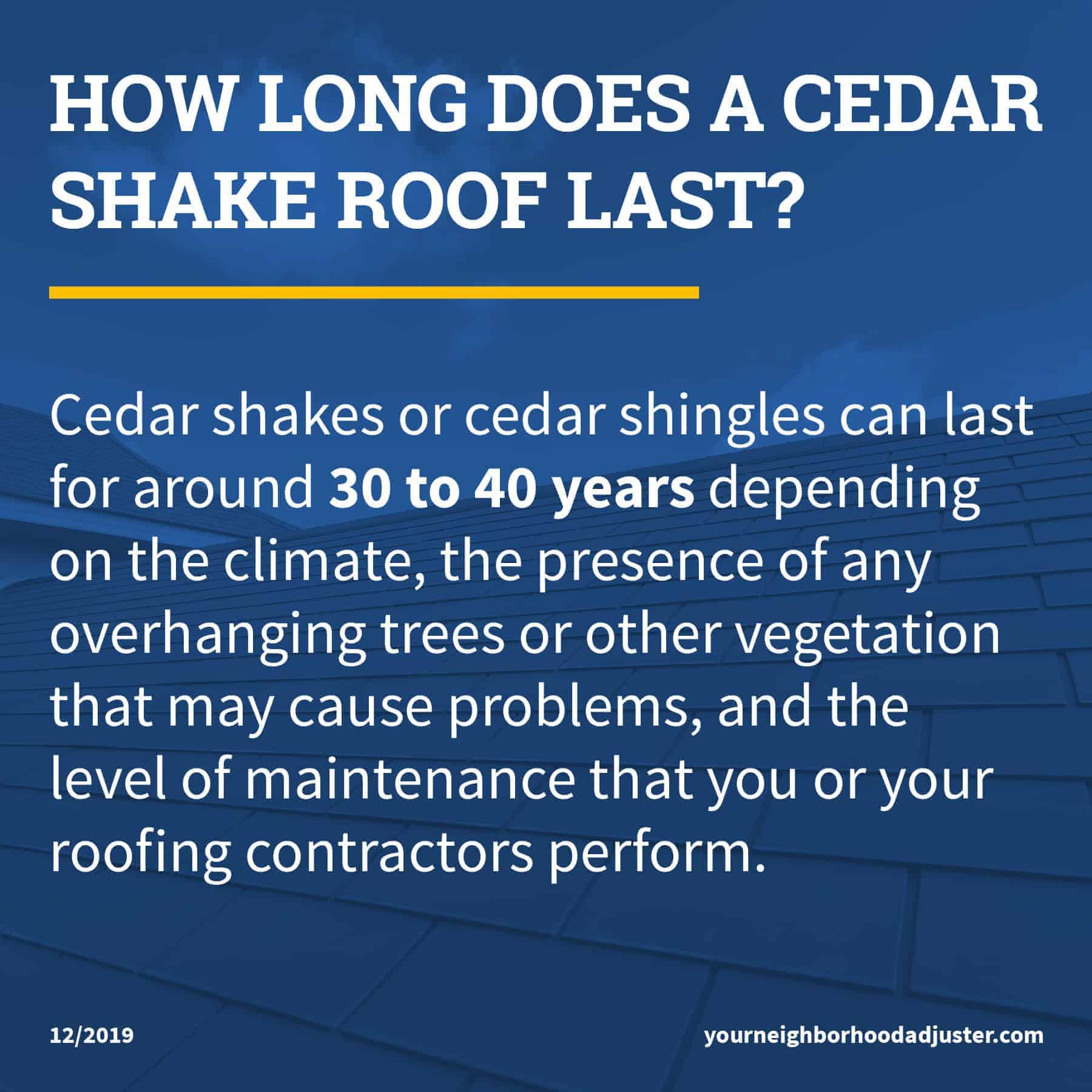 how long does a cedar shake roof last